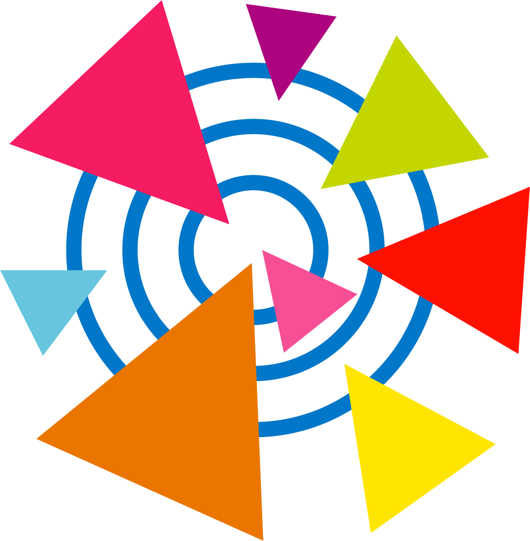 A simple illustration of coloured triangles pointing at a radial target