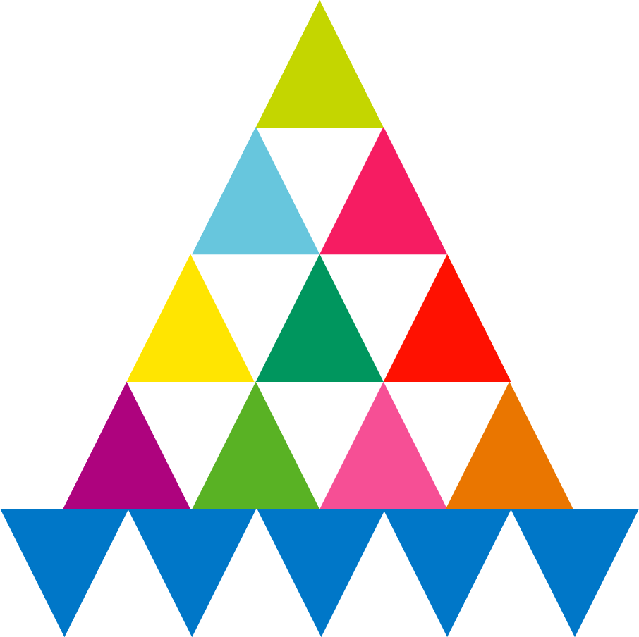 Coloured triangle shaped balanced in a pyramid formation